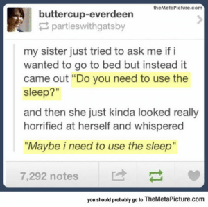 "Tumblr, Blog, and Http: buttercup-everdeerieture.com  partieswithgatsby  my sister just tried to ask me if i  wanted to go to bed but instead it  came out ""Do you need to use the  sleep?""  and then she just kinda looked really  horrified at herself and whispered  ""Maybe i need to use the sleep""  7,292 notes  you should probably go to TheMetaPicture.com srsfunny:Need To Use The Sleep?"