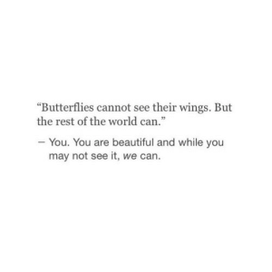 """Beautiful, Wings, and World: """"Butterflies cannot see their wings. But  the rest of the world can  - You. You are beautiful and while you  may not see it, we can."""