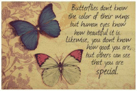 human eyes: Butterflies dont know  the color d their wings  but human eyes know  how beautiful it is  likewise, you dont know  how good you are,  hut others can see  that you are  special