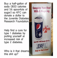 Juvenile, Kfc, and Memes: Buy a half-gallon of  soda (800 calories Complete Your Meal  and 56 spoonfuls of  sugar) so Wilh A Mega Jug  KFC can  donate a dollar to  the Juvenile Diabetes  Research Foundation.  for oaly  Help find a cure for  type 1 diabetes by  putting yourself at  increased risk of  And KFC Donale $100 To  Will type 2 diabetes.  JDRF  Who is it that dreams  Help Uls Find A Cure!  this shit up? - Tom Retterbush