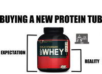 Protein brands are now following the Lay's profit maximising tactic.   Gym Memes: BUYING A NEW PROTEIN TUB  GOLD STANDARD  EXPECTATION  SWHEY  REALITY  ON Protein brands are now following the Lay's profit maximising tactic.   Gym Memes