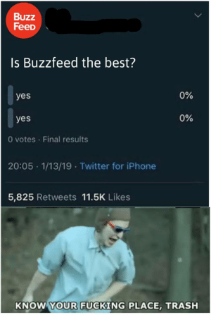 Just imagine being the person working with theirs account lel by elloelioffical MORE MEMES: Buzz  FeeD  Is Buzzfeed the best?  0%  yes  0%  yes  0 votes Final results  20:05 1/13/19 Twitter for iPhone  5,825 Retweets 11.5K Likes  KNOW YOUR FUCKING PLACE, TRASH Just imagine being the person working with theirs account lel by elloelioffical MORE MEMES