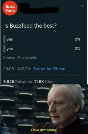Iphone, Love, and Reddit: Buzz  FeeD  Is Buzzfeed the best?  0%  yes  0%  yes  0 votes Final results  20:05 1/13/19 Twitter for iPhone  5,825 Retweets 11.5K Likes  I love democracy Democracy is the best