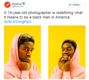 "America, Google, and Racism: BuzzFeed  @BuzzFeed  Follow  A 19-year-old photographer is redefining what  it means to be a black man in America  bzfd.it/2nxgPpU blackfashion: the-real-eye-to-see:   This Gorgeous Photo Series Crushes Stereotypes About Black Masculinity  Loftin shot the photo series after seeing the stark contrast between the Google results for ""black boy in hoodie"" and ""white boy in hoodie."" In contrast to the images of black men depicted in the Google image search, Loftin's poses are sweet, affectionate, and sometimes silly. ""Black people, and black men specifically, exist outside of the stereotypes that have been created for us by the media and those that control it,"" he told. Source They always portray us as dangerous thugs in black hoodies, nothing new. And the fact that whites still believe that black people are dangerous to them proves just how ingrained white supremacism is in this country! This man just wanted to say that racism is still a reality we have to deal with. Inferential racism certainly won't go away by no one talking about it. We have to accept that there is a serious problem in America, that many white Americans are raised with these subtle cues all around them telling them to ""fear blacks"". Stop making up false stories about us, we are just people, just a little darker.  Myles Loftin mylesloftinphotography.com we should start this thing where we place artist names in the title."