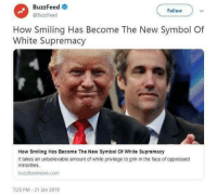 White Privilege: BuzzFeed  @BuzzFeed  Follow  How Smiling Has Become The New Symbol Of  White Supremacy  How Smiling Has Become The New Symbol Of White Supremacy  It takes an unbelievable amount of white privilege to grin in the face of oppressed  minorities  buzzfeednews.com  7:25 PM-21 Jan 2019
