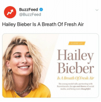 "Fresh, Girls, and Social Media: BuzzFeed  @BuzzFeed  Hailey Bieber ls A Breath Of Fresh Air  Hailey  Bieber  Is A Breath Of Fresh Air  The young model talks partnering with  Bareminerals, the ups and downs of social  media, and being more thoughifiul. ""I think a lot of girls struggle with feeling like they can't bring something to the table..."" 👉 Link in bio."