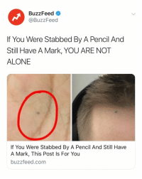 Being Alone, Buzzfeed, and Link: BuzzFeed  @BuzzFeed  If You Were Stabbed By A Pencil And  Still Have A Mark, YOU ARE NOT  ALONE  If You Were Stabbed By A Pencil And Still Have  A Mark, This Post Is For You  buzzfeed.com If you still have the led mark, you need to read this. Link in bio.