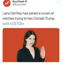 """Donald Trump, Lana Del Rey, and Rey: BuzzFeed  @BuzzFeed  Lana Del Rey has joined a coven of  witches trying to hex Donald Trump  bzfd.it/2lj7QEx <p><a href=""""http://roseofaureum.tumblr.com/post/174383102665/lana-del-rey-is-a-witch-pass-it-on"""" class=""""tumblr_blog"""">roseofaureum</a>:</p> <blockquote><p>lana del rey is a witch, pass it on</p></blockquote>"""