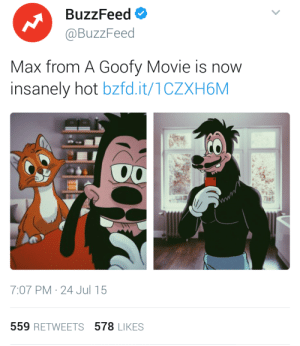 A Goofy Movie, Target, and Tumblr: BuzzFeed  @BuzzFeed  Max from A Goofy Movie is now  insanely hot bzfd.it/1CZXH6M  2  7:07 PM 24 Jul 15  559 RETWEETS 578 LIKES unclefather: Who? Who did this? I want names and social security numbers. I'm about to ruin someone's credit for this post specifically