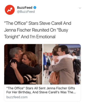 "Brb, I have to go cry AGAIN 😭 See all of the surprises 👉 Link in bio 📺: BuzzFeed  @BuzzFeed  ""The Office"" Stars Steve Carell And  Jenna Fischer Reunited On ""Busy  Tonight"" And I'm Emotional  ""The Office"" Stars All Sent Jenna Fischer Gifts  For Her Birthday, And Steve Carell's Was The...  buzzfeed.com Brb, I have to go cry AGAIN 😭 See all of the surprises 👉 Link in bio 📺"