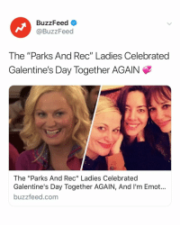 "Best, Buzzfeed, and Link: BuzzFeed  @BuzzFeed  The ""Parks And Rec"" Ladies Celebrated  Galentine's Day Together AGAIN  The ""Parks And Rec"" Ladies Celebrated  Galentine's Day Together AGAIN, And I'm Emot...  buzzfeed.com Ok I know Galentine's Day was yesterday but this is literally the best I've seen all day ➡️ Link in bio 💖"