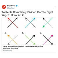 So which way is it then? ❌ Link in bio ❌: BuzzFeed  @BuzzFeed  Twitter Is Completely Divided On The Right  Way To Draw An X  2  2  2  4.  5.  6.  2  2  Twitter Is Completely Divided On The Right Way To Draw An X  X marks the Twitter feud!  buzzfeed.com So which way is it then? ❌ Link in bio ❌