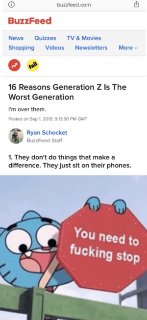 More of the best memes at http://mountainmemes.tumblr.com: buzzfeed.com  BuzzFeed  TV &Movies  News  Quizzes  More  Shopping  Videos  Newsletters  fail  16 Reasons Generation Z Is The  Worst Generation  I'm over them  Posted on Sep 1, 2019, 9:13:30 PM GMT  Ryan Schocket  BuzzFeed Staff  1. They don't do things that make a  difference. They just sit on their phones.  You need to  fucking stop More of the best memes at http://mountainmemes.tumblr.com