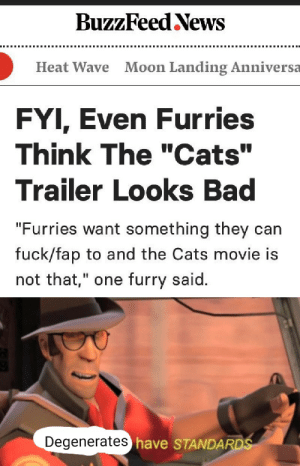 "Bad, Cats, and News: BuzzFeed News  Moon Landing Anniversa  Heat Wave  FYI, Even Furries  Think The ""Cats""  Trailer Looks Bad  ""Furries want something they can  fuck/fap to and the Cats movie is  not that,"" one furry said.  Degenerates have STANDARDS S T A N D A R D S"