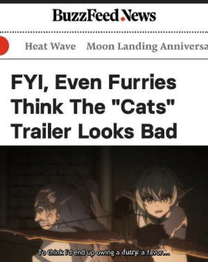 "Anime, Bad, and Cats: BuzzFeed News  Moon Landing Anniversa  Heat Wave  FYI, Even Furries  Think The ""Cats""  Trailer Looks Bad  To think I'd end up owing a furaryi a favorooo I could do that."
