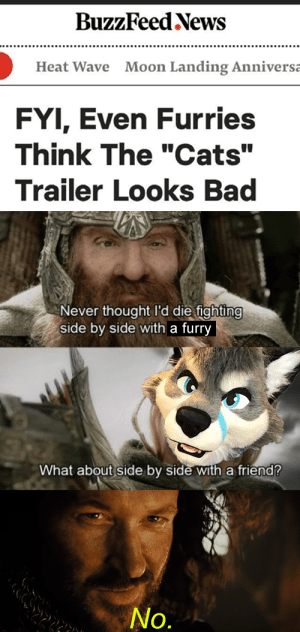 "Bad, Cats, and Fire: BuzzFeed News  Moon Landing Anniversa  Heat Wave  FYI, Even Furries  Think The ""Cats""  Trailer Looks Bad  Never thought I'd die fighting  side by side with a furry  What about side by side with a friend?  No. Destroy it. Cast it into the fire."