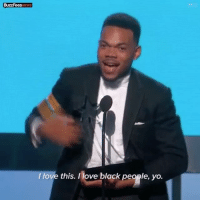 Love, Memes, and Yo: BuzzFeeDNEWS  BUZreeDNEWS  I love this. Ilove black people, yo. Chance The Rapper's speech as he accepts the BET Humanitarian Award