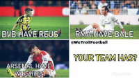 Arsenal, Memes, and 🤖: BVB HAVE REUS RMA HAVE BALE  @WeTrollFootball  YOUR TEAM HAS?  ARSENAL HAVE  LSHIRE) Your team has ❔