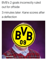 Bad, Goals, and Memes: BVB's 2 goals incorrectly ruled  out for offside  3 minutes later: Kane scores after  a deflection  09  @TrollFootball Bad Luck Dortmund 😂