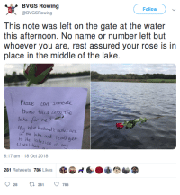 My rowing coach posted this on twitter today: BVGS Rowing  @BVGSRowing  Follow  this afternoon. No name or number left but  whoever you are, rest assured your rose is in  place in the middle of the lake.  Pease an someane  thew this into tho  lake for me?  mu labe hushond'c aushes are  in tta lake and Icont aet  ro he lakeside  hee Icha  6:17 am -18 Oct 2018  281 Retweets 786 Likes  6.小心  028  281  786 My rowing coach posted this on twitter today