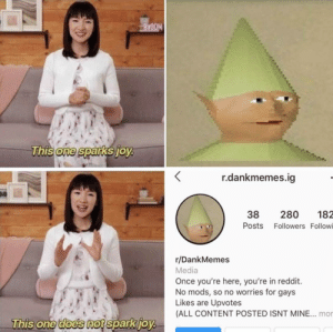 Reddit, Dank Memes, and Content: BVODM  This one sparks joy.  r.dankmemes.ig  280  182  38  Posts Followers Followi  r/DankMemes  Media  Once you're here, you're in reddit.  No mods, so no worries for gays  Likes are Upvotes  (ALL CONTENT POSTED ISNT MINE... mon  This one does not spark joy. They are crossing the red line, we have to do something