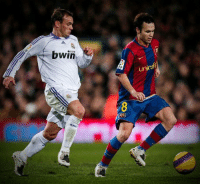 Head, Soccer, and Andres Iniesta: bwin  com  FP  unicef The last time Messi and Ronaldo didn't play in El Clasico, Andres Iniesta and Wesley Sneijder both had a full head of hair. ⏳ https://t.co/1C9CnlUuCL