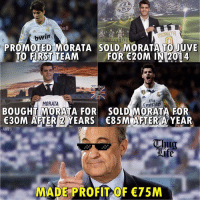 Memes, Thug, and 🤖: bwin  PROMOTED MORATA SOLD MORATA TO JUVE  TO FIRST TEAM FOR E20M IN 2014  MORATA  Fly  irat  BOUGHT MORATA FOR SOLD MORATA FOR  €30M AFTERI )WEARS  30M AFTER2YEARS 85M AFTER A YEAR  €85MǐAFTER A YEAR  Thug  MADE PROFIT OF 75M Florentino Perez B 