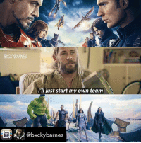 "Memes, Hulk, and Vision: BXCKYBARNES  I'll just start my own team  @bxckybarnes HAHA YES credit to @bxckybarnes civilwar thorragnarok ironman captainamerica blackwidow blackpanther antman hawkeye spiderman vision scarletwitch wintersoldier falcon spiderman warmachine hulk thor loki valkyrie marvel - Repost from @bxckybarnes using @RepostRegramApp - DID ANYONE ELSE NOTICE THAT THEY CLUED THIS IN OR WAS IT JUST ME? - EDIT: ITS ""I'd just start my own team"""