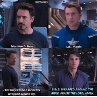 ew. school. help. - marvel tumblr incorrectquotes omgmcu: BXCKYBARNES  Nice Hands Steve  Uh...thanks  I bet they'd look a lot better  wrapped around my-  BIBLE! WRAPPED AROUND THE  BIBLE. PRAISE THE LORD, AMEN. ew. school. help. - marvel tumblr incorrectquotes omgmcu