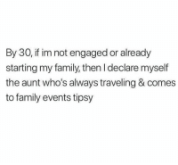 Family, Memes, and 🤖: By 30, if im not engaged or already  starting my family, then I declare myself  the aunt who's always traveling & comes  to family events tipsy