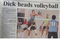 Meanwhile in a Papua New Guinea newspaper...: By Dick heads volleyball  JACK AMI  FAIRFAX Volleyball Association  president Kila Dick is the new presi  of the Papua New Guinca Vol.  leyball Federation  Dick toppled Turaho Morea from  Vabukori, with 300 votes to 14.  incumbent Alu did not  re-contest the elections at the annu-  al general meeting on Friday at the  Taurama Indoor and Aquatic Centre  in Port Moresby.  No stranger to volleyball in the  country, Dick previously served  as vice-president under Alu and  Armed with a wealth of experi  ence in sports administration, Dick  zad his executives aim to drive the  progress of volleyball in the country  dating their four-year tenure.  Other executives voted into office  include former secretary Kila Oli.  wto was elevated to vice-president  Karo Rupa Ikufu.  Replacing Oli in the secretary's  post is Ronald Omoa and his assis-  tant is Ezekiel Vene.  Odette Maino was named the  treasurer, with Vani Igo as her dep- Meanwhile in a Papua New Guinea newspaper...