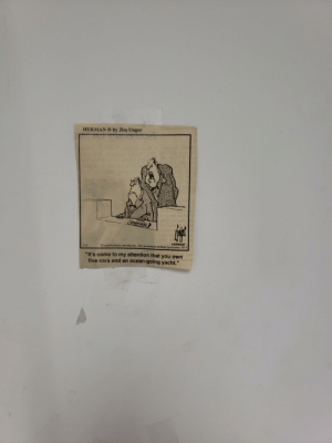 """Found on the wall in a grocery store's cash office.: by Jim Unger  HERMAN  CASHIER  AHERMAN  © LaughingStock Licensing Inc., Dist. by Andrews McMeel Syndicalion, 2017  2-13  bag  """"It's come to my attention that you own  five cars and an ocean-going yacht.""""  59 Found on the wall in a grocery store's cash office."""