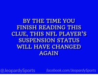 """Dallas Cowboys, Nfl, and Sports: BY THE TIME YOU  FINISH READING THIS  CLUE, THIS NFL PLAYER'S  SUSPENSION STATUS  WILL HAVE CHANGED  AGAIN  @JeopardySportsfacebook.com/JeopardySports """"Who is: Ezekiel Elliott?"""" #JeopardySports #Cowboys https://t.co/oFvBvOGAUm"""