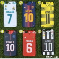 Memes, Neymar, and Best: BYB  RONALDO  MESSI  REUS  2  6  POGBA  DYBALA  NEYMAR JR  10  10  SWIPE → Which one is best? 🤔 - Personalise with your own name and number! @thekasenation - Over 80 more designs available at 👇🏻 WWW.THEKASENATION.COM 📲 (link in their bio) - Follow: @thekasenation