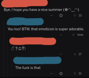 me_irl: Bye, I hope you have a nice summer (  13  You too! BTW, that emoticon is super adorable.  Vote  17  The fuck is that  21 me_irl
