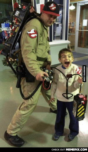 Man wore his Ghostbuster outfit and visited this kid's birthday party. He was a little excited.omg-humor.tumblr.com: CНECK OUT MЕМЕРIХ.COМ  MEMEPIX.COM Man wore his Ghostbuster outfit and visited this kid's birthday party. He was a little excited.omg-humor.tumblr.com