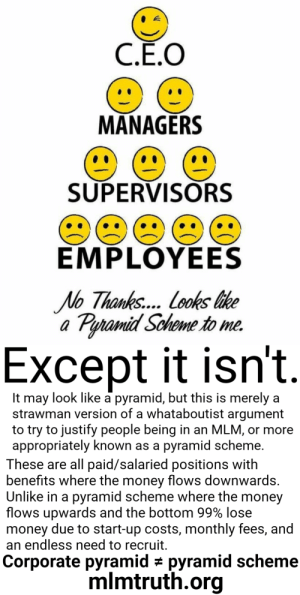 Fixed it: C.Ē.O  MANAGERS  SUPERVISORS  EMPLOYEES  No Thanks... Looks like  a Pyramid Scheme to me.  Except it isn't.  It may look like a pyramid, but this is merely a  strawman version of a whataboutist argument  to try to justify people being in an MLM, or more  appropriately known as a pyramid scheme.  These are all paid/salaried positions with  benefits where the money flows downwards.  Unlike in a pyramid scheme where the money  flows upwards and the bottom 99% lose  money due to start-up costs, monthly fees, and  an endless need to recruit.  Corporate pyramid # pyramid scheme  mlmtruth.org Fixed it