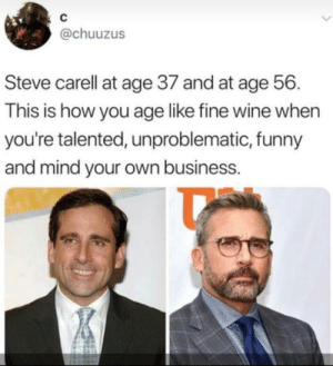 Funny, Steve Carell, and Tumblr: C  @chuuzus  Steve carell at age 37 and at age 56  This is how you age like fine wine when  you're talented, unproblematic, funny  and mind your own business. awesomacious:  Still looking good.