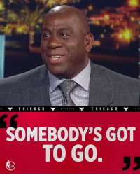 Chicago Bulls, Magic Johnson, and Memes: C H I C A G O  CHICAGO  SOMEBODY'S GOT  TO GO. Magic Johnson has one solution for the Chicago Bulls...  but who? 🤔