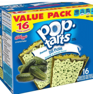 Dill Pickle: C O  VALUE PACK  16  CALORIES SAT FAT SODIUM S  13% Ov  স  PER 1 PAS  pta  toaster pastries  TAR  Relleg's  tarts  @POptartaday  toaster  pastries  TME  Dill Pickle  Frosted  దమియవా  Naturally& Artificially Flavored  16  TOASTER PASTRIES  PASTELILLOS PARA TOSTA