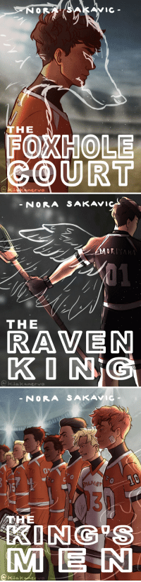 kiiakanerva:All for the Game by Nora Sakavic: C-  THE  FOXHOLE  COURT   NORA SAKAVI  ORIYA  THE  RAVEN  KONİC  kiakanerva   NORA SAKAVIC  0  LMET  131  KING S  ME N  @ Kiiakyketa kiiakanerva:All for the Game by Nora Sakavic