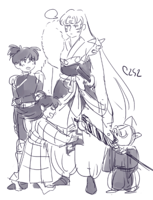 Target, Tumblr, and Blog: c2s2:  finally watching the inuyasha kanketsu hennice to see the collection of sesshoumaru's small creatures increasing