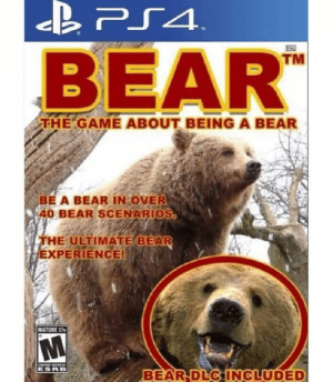 Game of the year @gamersdoingthings: C40  TM  BEAR  THE GAME ABOUT BEING A BEAR  BE A BEAR IN OVER  40 BEAR SCENARIOS  FHE ULTIMATE BEAR  EXPERIENCE!  MATURE 14  ESRB  BEAR DEC INCLUDED Game of the year @gamersdoingthings