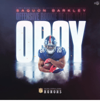 Saquon!   @Giants RB @saquon Barkley is the 2018 Offensive Rookie of the Year! #NFLHonors https://t.co/K4t2OIZ9fG: Ca  1,307 RUSH YARDS 9 1 RECEPTIONS 15 TOUCHDOWN S  S AQ U O N B ARK L E Y  עב  NATIONAL FOOTBALL LEAGUE  HONORS Saquon!   @Giants RB @saquon Barkley is the 2018 Offensive Rookie of the Year! #NFLHonors https://t.co/K4t2OIZ9fG