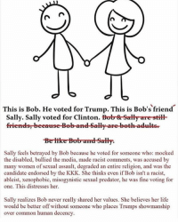 Be Like, Kkk, and Memes: CA  d  This is Bob. He voted for Trump. This is Bob's friend  Sally. Sally voted for Clinton  Bob Sally are still  friends beeause Bob and Sally are beth adults  Be like Bob amd Sally.  Sally feels betrayed by Bob because he voted for someone who: mocked  the disabled, bullied the media, made racist comments, was accused by  many women of sexual assault, degraded an entire religion, and was the  candidate endorsed by the KKK. She thinks even if Bob isn't a racist,  ableist, xenophobic, misogynistic sexual predator, he was fine voting for  one. This distresses her.  Sally realizes Bob never really shared her values. She believes her life  would be better off without someone who places Trumps showmanship  over common human decency. oops