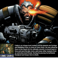 He's also Thanos _____________________________________________________ - - - - - - - Cable IronFist Hulk Hawkeye Spiderman Daredevil Wolverine Logan Deadpool LukeCage CaptainAmerica Avengers Xmen StarWars Defenders Ironman DarthVader Doctorstrange Yoda SpidermanHomecoming Marvel ComicFacts Superhero Comics Like4ike Like Facts Disney DCcomics Netflix: Cable is an omega level mutant and his parents are Cyclops  and Madeline Pryor (a clone of Jean Grey). He was raised by  them in the future for his ultimate mission, to travel back in  time and save his dad, mom, and many other mutants from  an extinction level threat. During his journey he befriends  Deadpool and keeps him in check.  COMIC SOURCE He's also Thanos _____________________________________________________ - - - - - - - Cable IronFist Hulk Hawkeye Spiderman Daredevil Wolverine Logan Deadpool LukeCage CaptainAmerica Avengers Xmen StarWars Defenders Ironman DarthVader Doctorstrange Yoda SpidermanHomecoming Marvel ComicFacts Superhero Comics Like4ike Like Facts Disney DCcomics Netflix