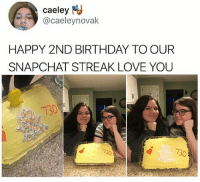 My friends won't even reply 😤😤😤💯: caeley  @caeleynovak  HAPPY 2ND BIRTHDAY TO OUR  SNAPCHAT STREAK LOVE YOU  730 My friends won't even reply 😤😤😤💯