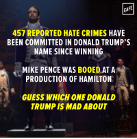 From CAFE: CAFE  457 REPORTED HATE CRIMES HAVE  BEEN COMMITTED IN DONALD TRUMP'S  NAME SINCE WINNING  MIKE PENCE WAS B00ED AT A  PRODUCTION OF HAMILTON  GUESS WHICH ONE DONALD  TRUMP IS MAD ABOUT From CAFE