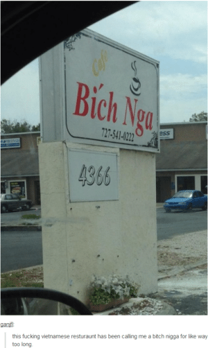 Bitch, Fucking, and Tumblr: Cafe  Bich Ngo  727-541-0222  ess  eEREVCES  4366  ganif:  this fucking vietnamese resturaunt has been calling me a bitch nigga for like way  too long Do they have the n word pass?