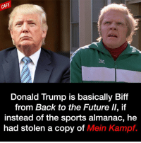It's seriously uncanny.: CAFE  Donald Trump is basically Biff  from Back to the Future ll, if  Instead of the sports almanac, he  had stolen a copy of Mein Kampf. It's seriously uncanny.
